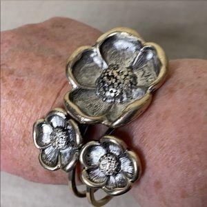 Floral Hinged Bracelet in Silvertone